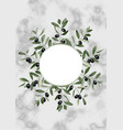 template with olive brunches on marble vector image vector image