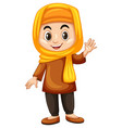 turkish girl waving hand vector image vector image