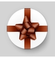 White Box with Shiny Brown Bow and Ribbon vector image vector image