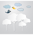 White Trees Cut From Paper with Clouds and Birds vector image vector image