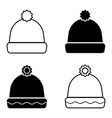 winter warm hat with bubon set winter vector image