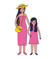 woman and girl family characters vector image