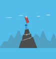 businessman holding success flag on mountain vector image