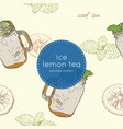 set of iced lemon mint tea seamless pattern vector image