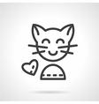 Cute cat simple line icon vector image