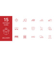 15 delivery icons vector image vector image