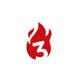 3 three number fire flame logo icon vector image vector image