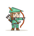 archer sharpshooter bow arrow elf fantasy medieval vector image vector image