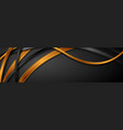 black and golden glossy waves abstract banner vector image vector image