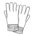 black sketch - casual textile gloves vector image vector image