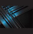 blue metallic line overlap on dark hexagon mesh vector image vector image