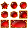 buttons with red gems set vector image vector image