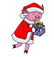 cartoon pig in santa clothes with gifts vector image vector image