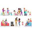 cartoon scenes of family life set mother father vector image vector image