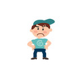 character of a serious white boy with blue cap vector image vector image