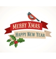 Christmas background with birds and holly leafs vector image vector image