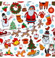 christmas seamless background with doodle symbols vector image vector image
