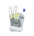 couple of simple five euro banknotes on white vector image vector image