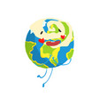 cute cartoon earth planet character with red vector image vector image