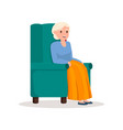 cute smiling pensioner woman stay in green soft vector image vector image