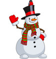 cute snowman with a bird vector image vector image