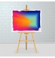 easel with a painting on canvas art gallery room vector image vector image