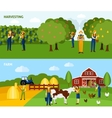 Farming 2 flat horizontal banners composition vector image vector image