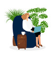 female freelancer working in chair vector image