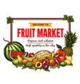fruit market banner with frame of farm product vector image vector image
