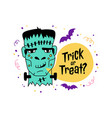 halloween greeting card trick or treat vector image