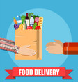 hands hold food package vector image