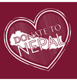 heart shape donate to nepal banner stamp style on vector image vector image