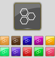 Honeycomb icon sign Set with eleven colored vector image vector image
