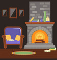 interior living room with fireplace and armchair vector image vector image