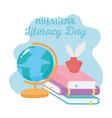international literacy day school map books vector image vector image