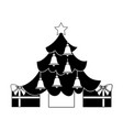 merry christmas happy tree star bells gift vector image