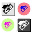 money on hand flat icon vector image