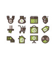 money template flat icon set vector image