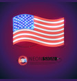 neon sign waving usa flag vector image vector image