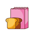paper bag bakery and bread fresh food vector image vector image