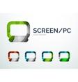 PC screen logo design made of color pieces vector image vector image