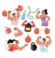 people man woman characters exercising vector image