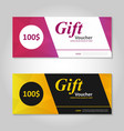Pink gold gift voucher template layout design set vector image