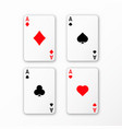 playing cards ace set casino card vector image vector image