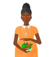pregnant woman with vegetables vector image vector image