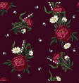 seamless pattern with burgundy peonies vector image vector image
