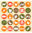 Set agriculture animal husbandry icons vector image