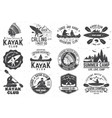 set canoe and kayak club badges vector image
