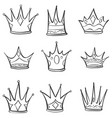 Set crown hand draw collection vector image
