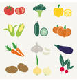 set of color simple vegetables icons eps10 vector image vector image